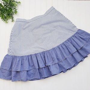J Crew Tiered Ruffle Blue White Stripe Skirt 12T